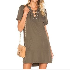 Lovers & Friends Olive Green Lace Up Dress XS